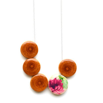 Pink Floral and wood statement necklace Bohemian jewelry wood necklace 5th anniversary gift bubble necklace statement jewelry starlightwoods