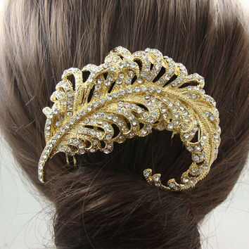 Bridal Wedding Hair Accessories Bridal Peacock Feather Clear Rhinestone Crystal Bridal