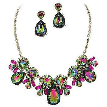 On Trend Greens & Pinksl Crystal Rhinestone Faceted Statement Necklace Set Bridesmaid Party Gold Tone