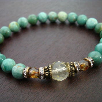 Women's Wealth & Prosperity Mala Bracelet - Citrine and African Jade Mala Bracelet - Yoga, Buddhist, Meditation, Jewelry