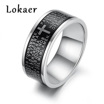 Lokaer Trendy Stainless Steel Black Spanish Bible Lord Prayer Cross Ring For Men White Gold Color Boy Rings Drop Shipping