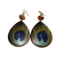 Blue and Gold Peacock Earrings, Teardrop Shaped Earrings, Big Earrings, Fall Earrings