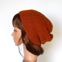 Slouchy Beanie in Copper with Metallic Thread, Handknit Ribbed Hat, Fishermans Cap, Glittery Copper Beanie, Slouch Hat