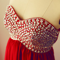 Red Chiffon Beaded Bridesmaid Dress/Prom Dress/Party Dress with crystals Strapless Sweetheart Dress
