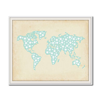 Polka Dot Map Print, Travel Print, Nursery Decor, Playroom Wall Art, Girls Bedroom Print, World Map Print, Travel Poster, Choose Your Color