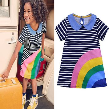 Fashion Rainbow colorful girls dress Toddler Kid Girls Short Sleeve Dress Casual Cotton Dress Summer Clothes