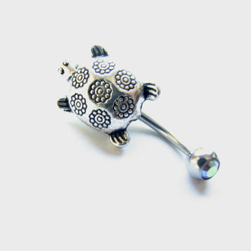 Reverse Belly Ring / Turtle Bellybutton Ring, Non Dangle Silver Belly Button Jewelry,  Navel Ring, Belly Button Ring