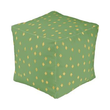 Chic golden like diamond squares on greenery pouf