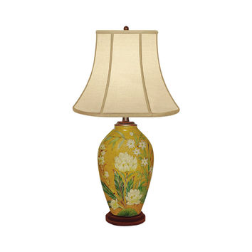 """Beautiful Porcelain Clove Bud Floral Vase Table Lamp 29"""" with Shade"""