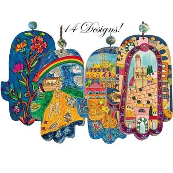 Hamsa Hand Painted Wood Amulets