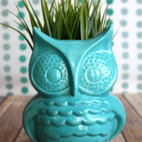 Mod Owl Planter - Handmade Planter, made with midcentury modern casting mold!  Handmade Planter - indoor gardening - jungalow style