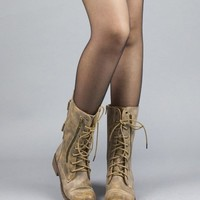 Nature Breeze Leatherette Mid Calf Round Toe Military Combat Boots TAN...