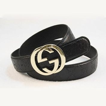 GUCCI Woman Fashion Smooth Buckle Belt Leather Belt H 8-15