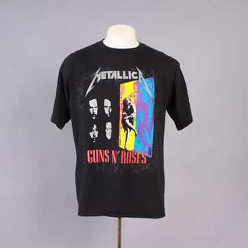 Vintage 90s METALLICA T-SHIRT / 1992 Concert Tour with Guns N Roses Tee Shirt Tshirt