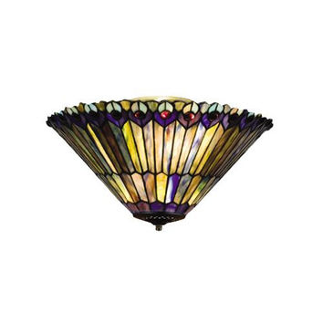 17 Inch W Jeweled Peacock Flushmount Ceiling Fixture