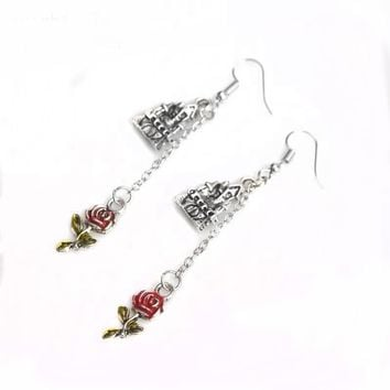 RJ Free Drop Shipping Beauty And The Beast  Red Rose Silver Castle Pendant Stud Earrings Vintage Women Girls Earring Brincos