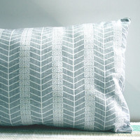 Gray Chevron Print Pillow Cover