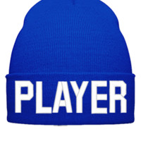PLAYER EMBROIDERY HAT - Beanie Cuffed Knit Cap