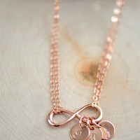 Dainty Personalized Infinity Necklace , Rose Gold Infinity Necklace ,  Rose Gold Initial Necklace, Bridesmaids Necklace, Mother's Necklace