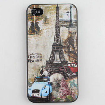Romantic The Eiffel Tower Black Hard Case Cover for Apple iPhone 4gs Case, iPhone 4s Case, iPhone 4 Hard Case