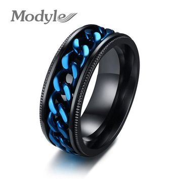 Modyle 2018 Fashion Men Ring The Punk Rock Accessories Blue 316L Stainless Steel Black Chain Spinner Rings For Men