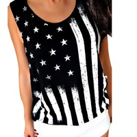 Casual Loose Women Tops Women Print American Flag Sleeveless Tops Shirt Vest Middle Age Clothing Summer Style Ropa Mujer