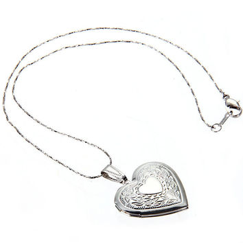 2016 New Arrival Woman Man Romantic Bronze Heart Pendant Photo Locket Open Chain Necklace Wearing Free Shipping