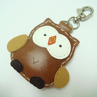 Lovely Fanny the Owl Leather Charm ( Brown )
