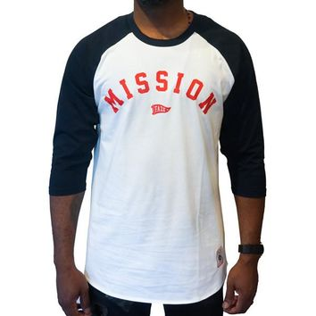 On A Mission Raglan Tee in white and navy