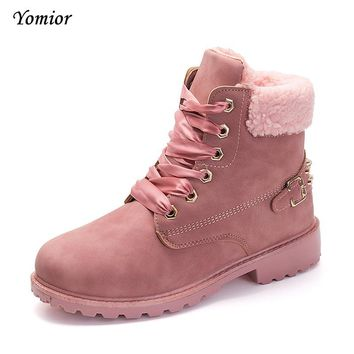 Yomior Women Boots Fashion Martin Boots Woman Snow Ankle Boots Outdoor Safety Desert Casual Timber Boots Autumn Winter Shoes