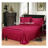 Luxury Smooth Soft Silky Home Hotel Satin Twin/Full/Queen/King Size Flat Sheet Bed Cover Solid Color Wine Red Flounce round edge