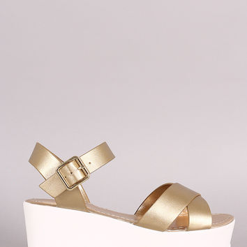 Bamboo Crisscross Ankle Strap Lug Sole Fatform Wedge