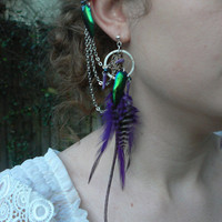 dreamcatcher feather ear cuff set jewel beetle wings charoite stones Native American tribal  gypsy boho hippie and hipster style