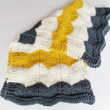 Warm Winter Zig Zag Baby Blanket, Hand Knit Ripple Afghan Striped Mustard Yellow Cream Gray, Girl Boy Gift, Toddler Child Chunky Knit Throw