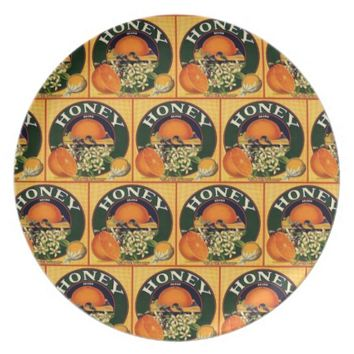 Vintage honey company advertisement plate
