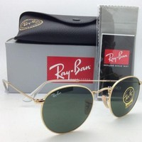 Cheap NEW Ray Ban Sunglasses 3447 001 round Metal Johan Lennon Gold Frame green lens outlet