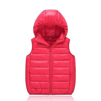 Children duck down vests waistcoats girls boy Outerwear Coats vest candy color Kids jackets baby Outerwear