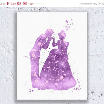 Cinderella and Prince Charming Purple Cinderella Printable Disney Nursery Cinderella Decor Cinderella Art Digital Download Art