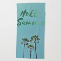 Hello Summer Beach Towel by RichCaspian