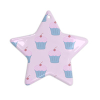 "NL Designs ""Pink Cupcakes"" Blue Blush Ceramic Star Ornament"