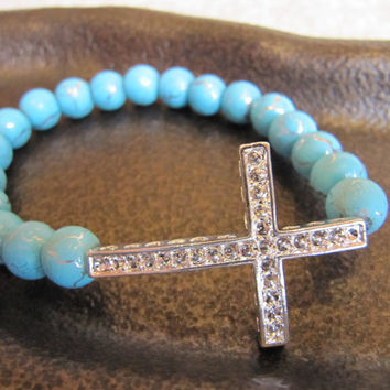 Silver Side Cross Bracelet with Turquoise Beads with Crackled Silver