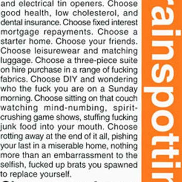 Trainspotting Choose Life Quote Poster 24x36