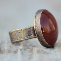 Red Carnelian Ring - Oxidized & Etched - Bohemian Chic - Red Fall Ring - Unique Design - Etched Ring - Fall Fashion
