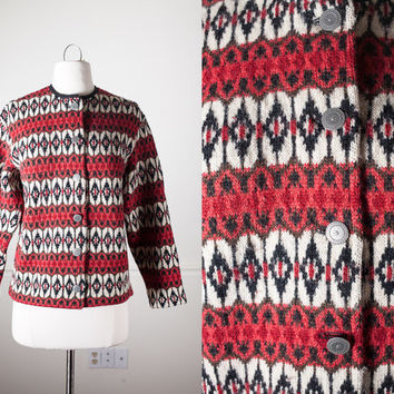 Vintage Scandinavian Ski Sweater |  Cardigan Sweater Coat Swedish Wool Sweater Geometric 60s Sweater Chevron Iceland Fair Isle Nordic