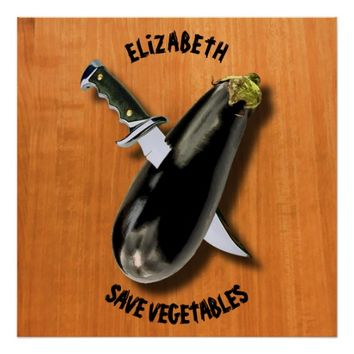 Save Vegetables Eggplant With Military Knife Funny Poster