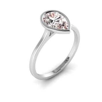 14K White Gold Pear Shape Morganite Minimalist Bezel Set Solitaire Engagement Ring