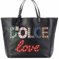 Beatrice embellished leather shopper