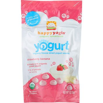 Happyyogis Yogurt Snacks - Organic - Freeze-dried - Greek - Babies And Toddlers - Strawberry Banana - 1 Oz - Case Of 8