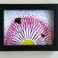 Daisy & Ladybugs Embroidery Wall Art - Nature Flower Art - original - mixed media - ready to hang shadow box