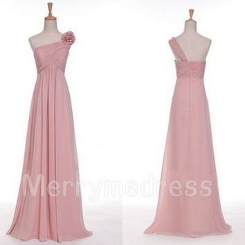 One-Shoulder Flower Strapless Long Empired Bridesmaid Celebrity Dress, Chiffon Formal Evening Party Prom Dress New Homecoming Dress